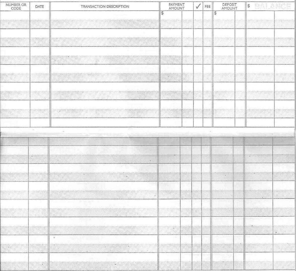 image of blank checkbook register