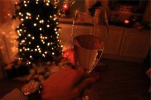 holiday scene of living room and christmas tree