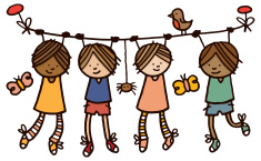 Cartoon of children hanging onto a rope